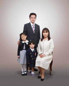 入学の家族写真